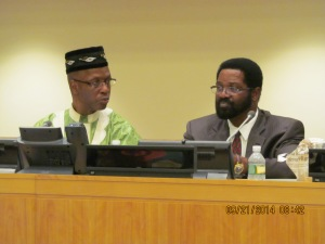 Accra, Ghana mayor Alfred Vernderpuije (r), president of the Global Alliance of Mayors of Africa and African Descent board of Directors. On the left is Djibril Diallo, senior advisor to the Executive Director, UN AIDS.
